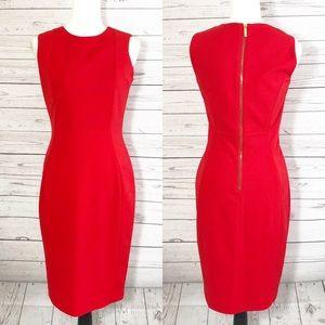 Calvin Klein Red Sleeveless Zip Sheath Dress Sz 4